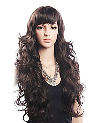 economico -Alta qualità 20% dei capelli umani e l'80% resistente al calore della fibra dei capelli senza cappuccio ondulata lunga parrucca (Blonde)