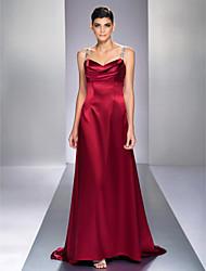 A-linje Børsteslæb Stræksatin Formel aften Militærbal Kjole med Perlearbejde ved TS Couture®