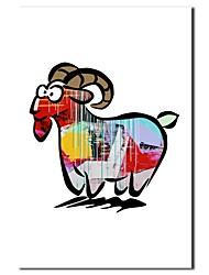 Dipinto a mano della pittura a olio animale del fumetto Capra con telaio allungato
