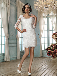 cheap -Sheath / Column Square Neck Short / Mini Lace Wedding Dress with Appliques by LAN TING BRIDE®
