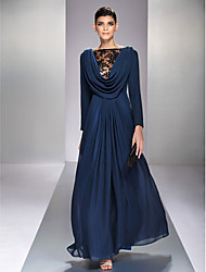cheap -A-Line Bateau Neck Floor Length Chiffon Formal Evening Military Ball Dress with Draping Lace by TS Couture®
