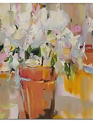 Pintados à mão pintura a óleo floral Flor Kinfe rosa pintado vaso com quadro esticado