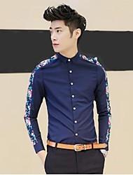Мужская мода Марка длинным рукавом Повседневная рубашка Тонкий Цветок