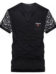 Men's Print Casual T-Shirt,Cotton Short Sleeve-Black / Gray