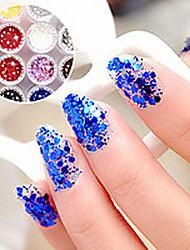 1PCS Hexagonal Glitter Tablets Decorações Nail Art NO.7-12 (cores sortidas)