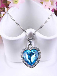 cheap -Women's Heart Love Fashion Pendant Necklace Synthetic Sapphire Austria Crystal Alloy Pendant Necklace , Wedding Party Special Occasion