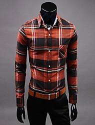 billige -Herre-Ensfarvet Trykt mønster Sofistikerede Skjorte