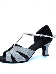Chaussures de danse(Argent) -Non Personnalisables-Talon Bottier-Satin-Latine Moderne Salon