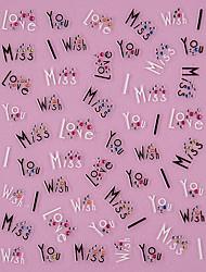 3D Art Design Amor Preto Palavras Padrão Rhinestone Nail Stickers