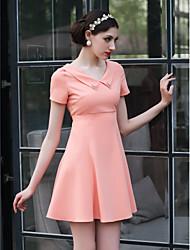 Недорогие -TS Бусы V шеи с коротким рукавом Свинг платье