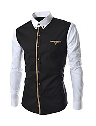 Men's Daily Plus Size Casual Spring Fall Shirt,Patchwork Button Down Collar Long Sleeves Cotton