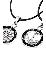 Z&X®  Fashion Couple's (Hollow Anchor And Rudder Pendant) Silver Alloy Pendant Necklace (2 Pcs) Best Friends Necklaces Christmas Gifts