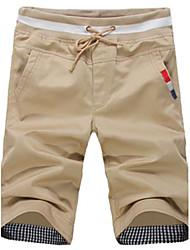 billige -Herre Shorts Bukser Bomuld Ensfarvet