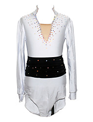 Figure Skating Top Men's Boys' Ice Skating Shirt Rhinestone Performance Practise Skating Wear Handmade Long Sleeves Ice Skating Figure