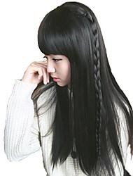 donne diritte lunghe sintetiche eleganti parrucche piene Bang calore fibra resistente parrucca di capelli a buon mercato cosplay del partito