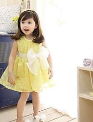 abordables -Vestido Chica de Jacquard Algodón Sin Mangas Verano Blanco Amarillo