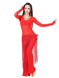 Belly Dance Outfits Women's Training Spandex Tulle Sequins Tassel(s) Long Sleeve 22.44inch(57cm) Dropped