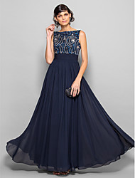 A-Line Scoop Neck Floor Length Chiffon Prom Formal Evening Military Ball Dress with Beading Bow(s) Ruching by TS Couture®
