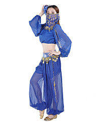 Belly Dance Bottoms Women's Performance Training Chiffon Coins 1 Piece Pants