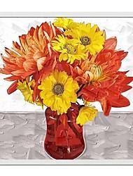 Pittura floreale Vaso Wall Art Oil cornice