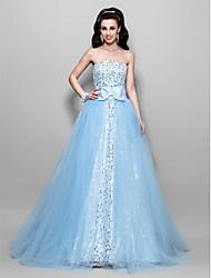 A-line boldkjole prinsesse stropløs gulvlængde tulle sequined prom kjole med drapering af ts couture®