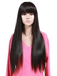economico -Di alta qualità senza tappo sintetico lungo rettilineo Natural Black completa Bang parrucche