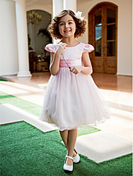 cheap -A-Line / Princess Tea Length Flower Girl Dress - Satin / Tulle Short Sleeve Jewel Neck with Bow(s) / Draping by / Spring / Summer / Fall