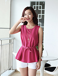 WeiMeiJia Women's Fashion Solid Color Sleevless Knitting Tops(With Belt)(Fuchsia)