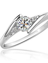 cheap -Women's Synthetic Diamond Ring - Zircon, Cubic Zirconia, Platinum Plated Love Elegant 6 / 7 / 8 Silver For Wedding / Party / Birthday