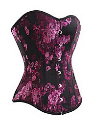 cheap -Women's Hook & Eye Overbust Corset-Floral,Print