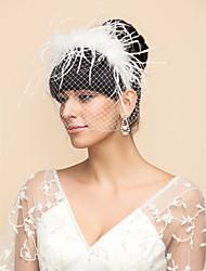 baratos -Uma Camada Véus de Noiva Véu Ruge Véus de Birdcage Com Tule Linha-A, Vestido de Baile, Princesa, Bainha / Coluna, Trompete / Sereia