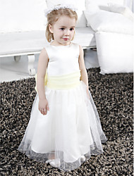 A-Line Floor Length Flower Girl Dress - Tulle Sleeveless Scoop Neck by LAN TING BRIDE®