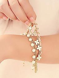 economico -z&X® perla artistica 45 centimetri donne in lega d'oro braccialetto di fascino (multicolore, bianco) (1 pc)