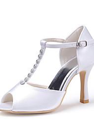 Stiletto Peep Toe de cetim Mulheres de casamento / Bombas de sapatos de salto com strass (mais cores)