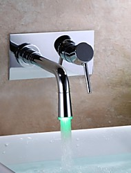 Contemporary Wall Mounted LED with  Ceramic Valve One Hole Single Handle One Hole for  Chrome , Bathroom Sink Faucet