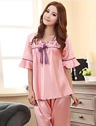 Moda feminina bowknot pijamas de seda