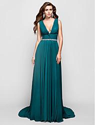 A-line princesa v-pescoço varredura / escova trem chiffon vestido de noite com cristal by ts couture®