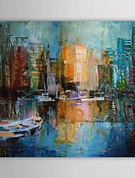 iarts®hand pintado faca pintura a óleo pintura de paisagem paisagem porto de Veneza, com quadro esticado