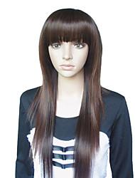 25 pollici di stile europeo lungo rettilineo Chestnut Brown parrucche sintetiche completa Bang