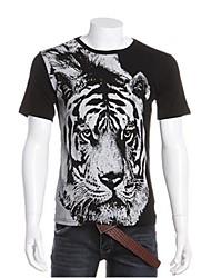 T-shirt Uomo Casual Con stampe Cotone Manica corta-Nero / Bianco