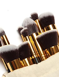 cheap -10PCS Makeup Brushes Set Pink/White/Black Powder Blush Eyeshadow Brush Gold/Silver Tube with Draw String Bag