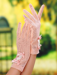 cheap -Lace Wrist Length Glove Bridal Gloves Party/ Evening Gloves General Purposes & Work Gloves With Bowknot