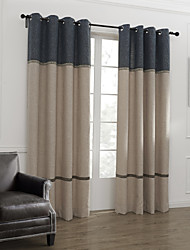 Rod Pocket Grommet Top Tab Top Double Pleated Two Panels Curtain Neoclassical , Stripe Living Room Linen Material Curtains Drapes Home