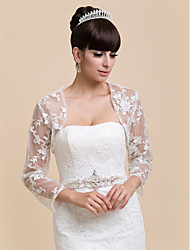 Wedding  Wraps Coats/Jackets Half-Sleeve Lace White Wedding / Party/Evening / Office & Career Off-the-shoulder Lace Open Front