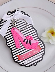 Fuchsia Plastic Chunky Heel Pumps Key Ring