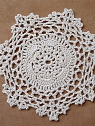 baratos -12pcs/set, marfim vintage Handmade Crochet Doilies Coaster, cor aleatória