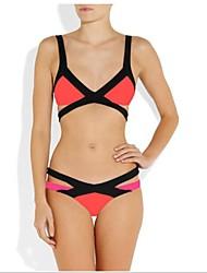 Femme Soutien-gorge Rembourré Licou Bikinis Blocs de Couleur,Polyester Nylon Spandex Couleur Pleine