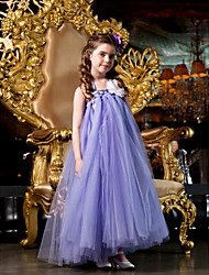 cheap -A-Line / Princess Floor Length Flower Girl Dress - Tulle Sleeveless Straps with Beading / Flower by LAN TING BRIDE®