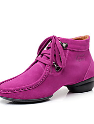 cheap -Women's Dance Sneakers Suede Heel / Sneaker Lace-up Dance Shoes Black / Brown / Fuchsia