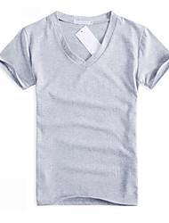 Duolunduo Men's Korean Slim V Neck Solid Color Short Sleeve T Shirt(Black,Gray,Wine,White)